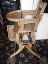 ANTIQUE NATURAL PINE CHILDS METAMORPHIC HIGH CHAIR / ROCKER GREAT FOR TEDDY DOLL
